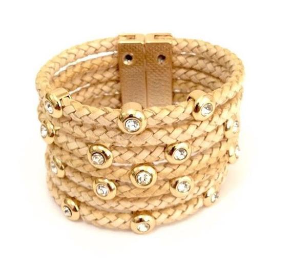 Bracelete Pulseira Feminina Ponto De Luz Luxo Dourado