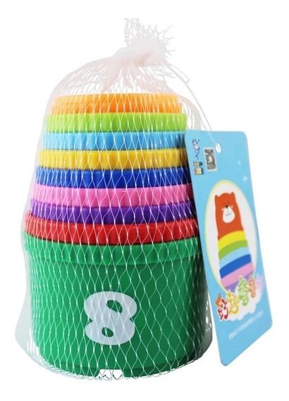 Potinhos Empilhar Infantil Bebês Educativo Encaixar Kit 9 Pç
