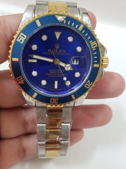 Relógio Masculino Azul - Pulseira Prata Com Dourado