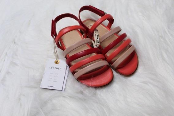 Sandalia Infantil Menina Tiras Couro Zara