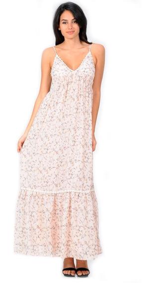 Vestido Largo Casual Floral, Escote V, Tirantes, Fresco.