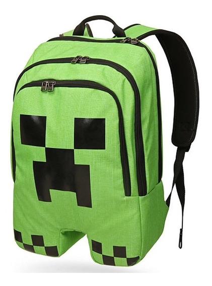 Mochila Minecraft Creeper Acolchoada,original Frete Grátis!!