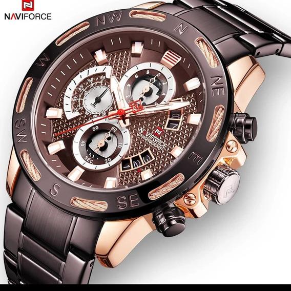 Relógio Navi Force Original Masculino Modelo Militar Brown