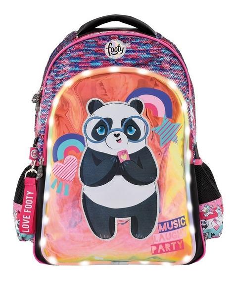 Mochila Footy Luz Led Panda Music Espalda 18 Lentejuelas Re