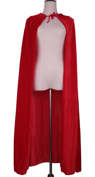 Adult Velvet Hooded Cape Gothic Devil Cloak Traje Medieval B