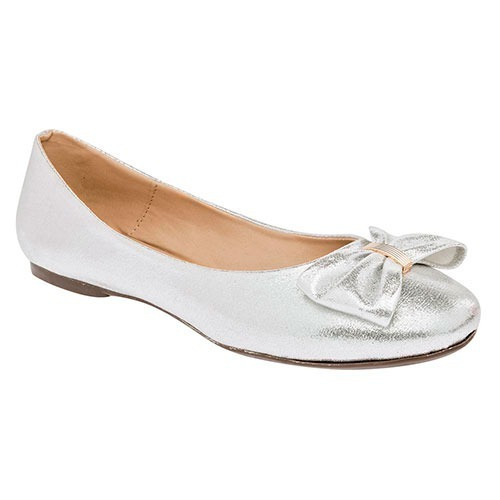 Zapatos Vestir Flats Maxim Dama Sint Plateado Dtt U03267