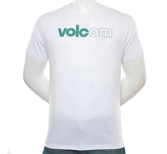 Remera Reg Logo Blanca Volcom Fluid Tienda Oficial