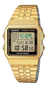 Relógio Casio Standard Digital World Time A500wga-1df Dourad