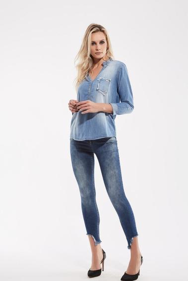 Camisa Feminina Jeans Tam.pp Ref.000403