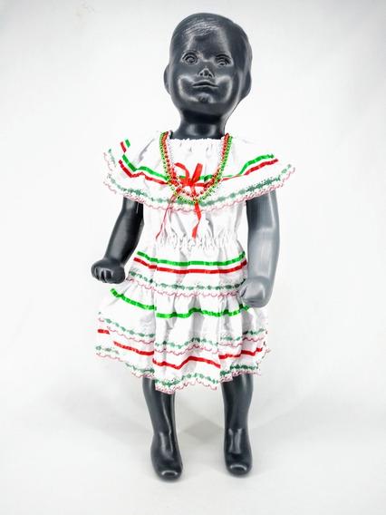 Vestido Tricolor Blanco Niña 15 Septiembre Fiestas Patrias