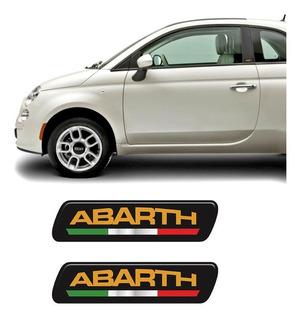 Par De Adesivos Emblema Coluna Abarth Linha Fiat Resinado
