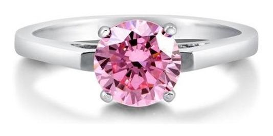 Anillo Con Diamante Cultivado Rosa De 75 Pt. En Oro De 14k