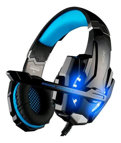 Imagen 1 de 2 de Auriculares gamer Gadnic A700 negro y azul con luz LED