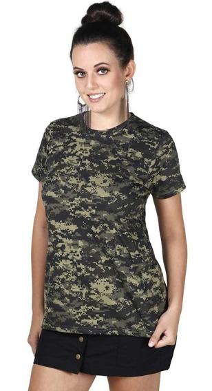 Camiseta Feminina Bélica Soldier Camuflada Digital Pantano