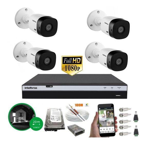 Kit Cftv 4 Câmeras Intelbras Vmh 1220b Full Hd Dvr 3104
