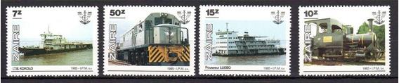 Zaire 1985 Trenes Y Barcos Serie Completa Sellos Y Hb Mint