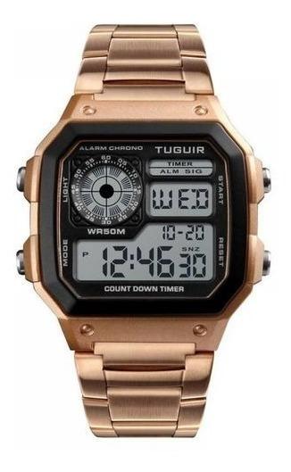 Relógio Unissex Tuguir Digital Tg1335 - Dourado E Preto Orig
