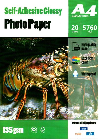 Papel Fotográfico Adesivo Glossy A4 135g Pct C/ 60 Folhas