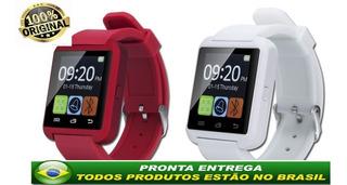 Relogio Smartwatch Vermelho U8 Inteligente Promocao