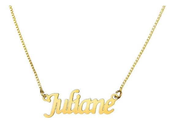 1 Colar De Nome Juliane, Semijoia, Banhado Ouro 18k, Atacado