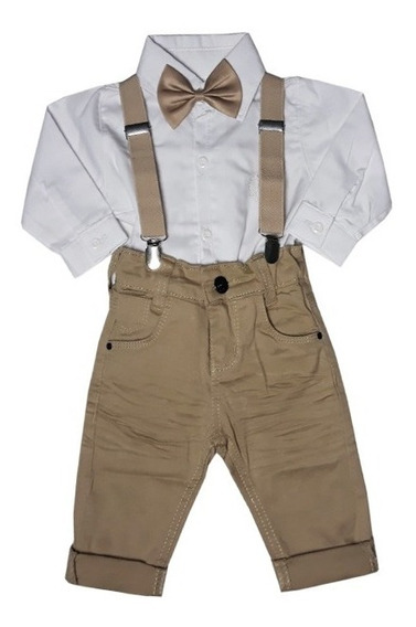 Conjunto Batizado Suspensório Camisa Body Menino Batizado Bebe Rn A 1 Ano