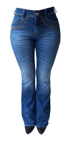 Calça Jeans Feminina Flare Minuty Bordado No Bolso 201842