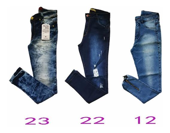 Com 3 Calças Jeans Feminina Skinny Modelo Lindo