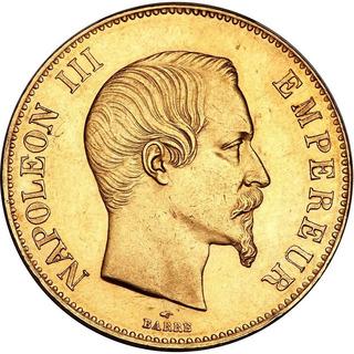 Onza Oro 24k París Francia Napoleón 100 Francos 1855-1859