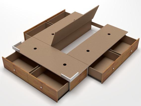 Base Box Cama Sommier 6 Cajones Queen Size Somier 190x160
