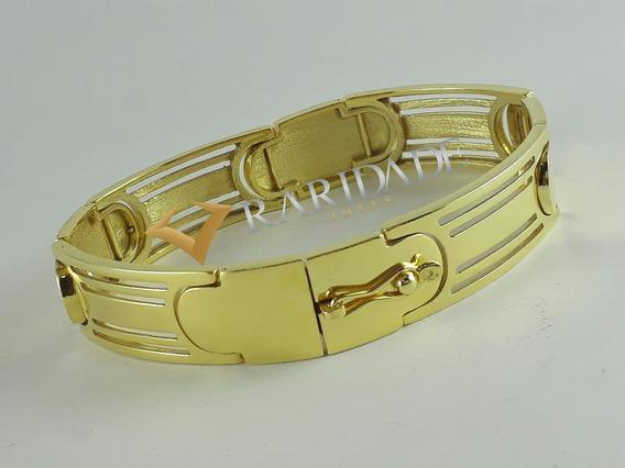 Pulseira Bracelete Masculino De Prata Banho De Ouro 14,5mm