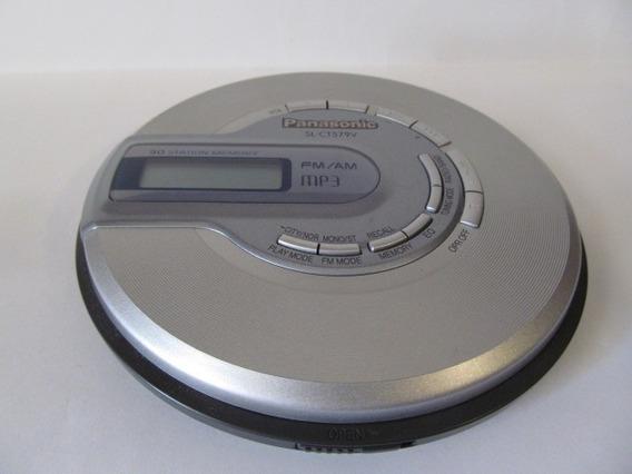Discman Panasonic Sl-ct579v Fm/am Mp3 Prata E Cinza Arte Som