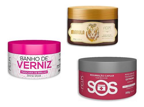 Felps Cronograma Capilar Sos + Banho De Verniz + Marula 300g