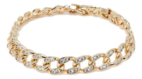 Esclava Para Mujer Hombre De Oro Lamin 18k Con Diamantes