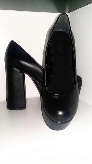 Zapatos Taco Palo Alto Negros