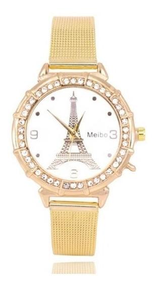 Relógio Feminino Paris Analógico Com Strass Presente Natal