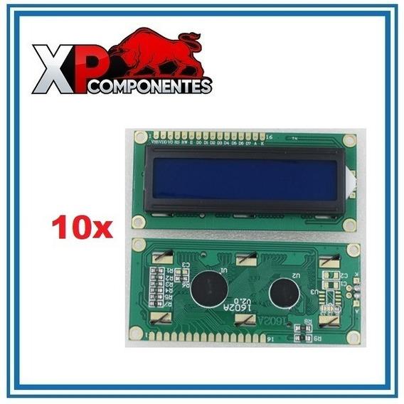 Kit 10 Unidades Display Lcd 16x2 C/ Back Azul