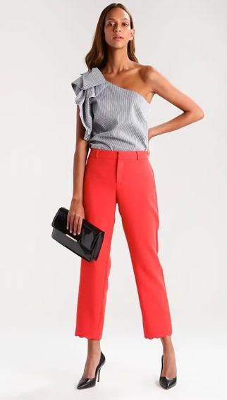 Pantalón De Vestir Ala Cintura Elegante Casual Color Naranja