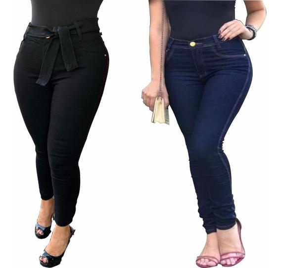Kit Com 2 Calça Jeans Feminina Skinny C/ Lycra Luxo