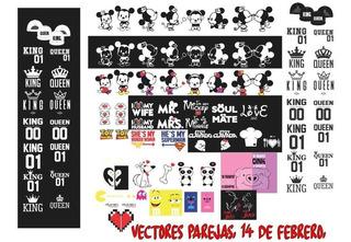 Plantillas Vectores Parejas, 14 De Febrero, Amor, Amistad