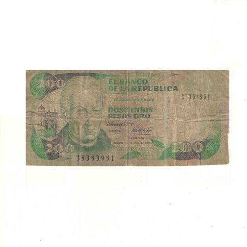 Imagen 1 de 2 de Billete De 200 Pesos Oro De Colombia