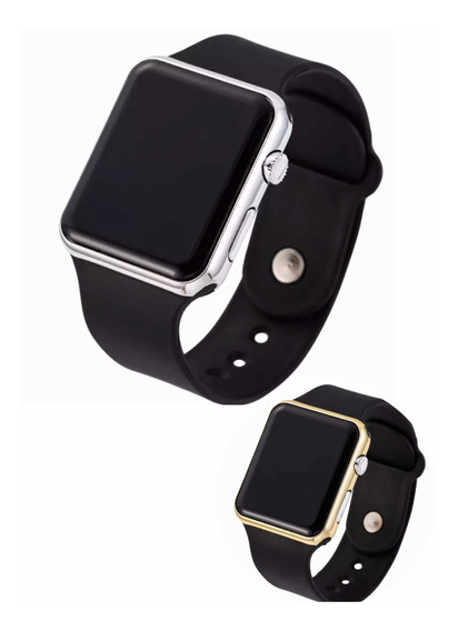 Relógio Masculino E Feminino Led Watch Dourado E Prateado