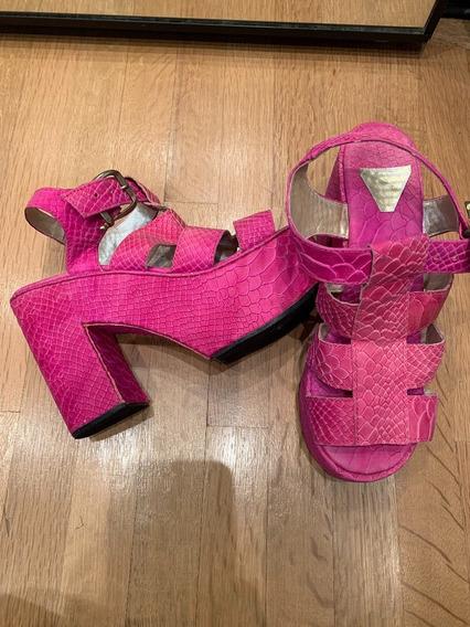 Zapatos Taco Fucsia Cuero Rosa Sofia De Grecia