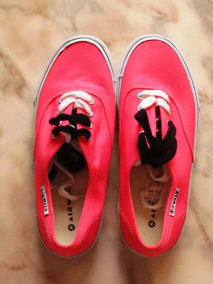Zapatillas De Tela Rosa Fluo Marca Aerowalk Importadas