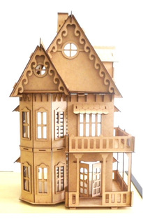2 Casinhas Bonecas Polly Mdf+kit 35 Miniaturas + Carro Polly