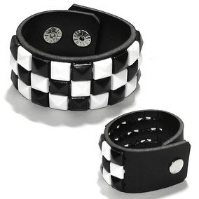 Pulseira Bracelete Couro Xadrez Preto E Branco Rock Metal