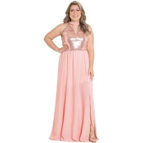 Vestido Festa Longo Fendas Rosê Madrinha Casamento Plus Size