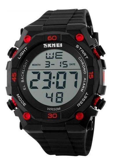 Relógio Digital Masculino Skmei 1130 - Preto E Vermelho