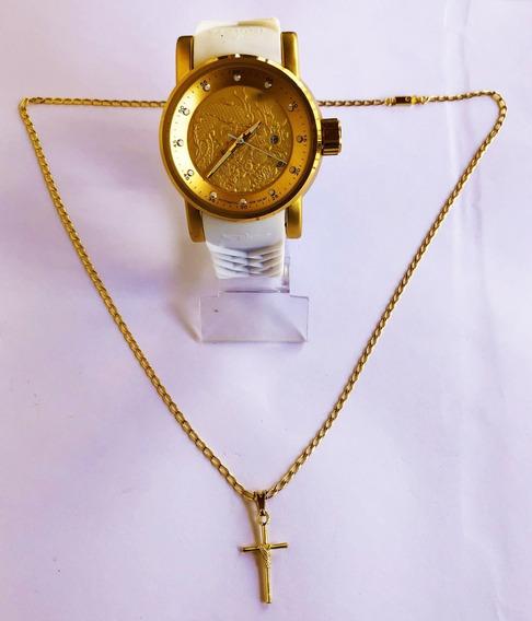 Kit Relógio Masculino + Corrente Com Pingente Banhado A Ouro