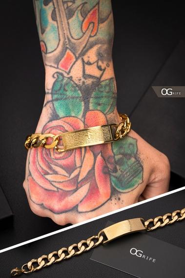 Pulseira Bracelete Aço Masculino Ogrife J-345 Banhado Ouro