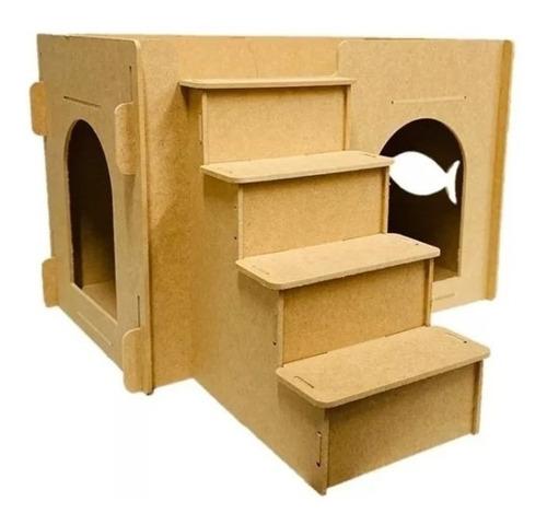 Cama Gato Casa Casinha Toca Móveis Escada Kit Play Gatos Mdf